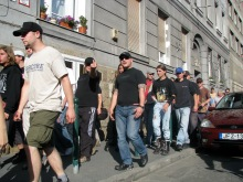 """""""I'm going to shove that camera up your ass!"""" Anti-gay demonstrators at Budapest Pride parade (7/7/2007)."""