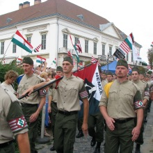 Members of the National Guard (Nemzeti Őrsereg) march to a rally on Castle Hill (10/25/2007).