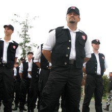 Chief Commander István Dósa stands at the head of a Hungarian Guard (Magyar Gárda) column at the organization's inauguration ceremony on Castle Hill. This is one of the first photos ever taken of the Hungarian Guard (8/25/2007).