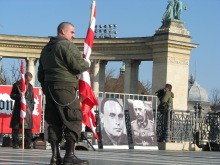 Portrait of fascist Arrow Cross leader Ferenc Szálasi (left) on Heroes' Square during Hungarist rally (2/9/2008).