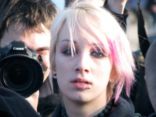 Anarchist counter-demonstrator at Hungarist rally on Heroes' Square (2/9/2008).