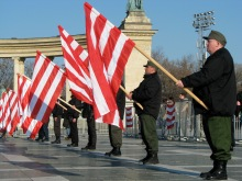 Hungarists holding Árpád-striped flags at rally honoring fascist breakout attempt during the 1945 Siege of Budapest (2/9/2008).