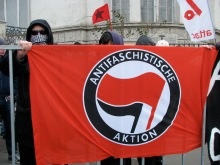 Anarchist demonstrators protest against Hungarist rally (2/14/2009).