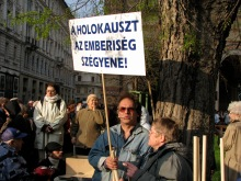 """The Holocaust Is the Shame of Humanity!"" Participants in the March of Life Holocaust-remembrance procession (4/15/2008)."