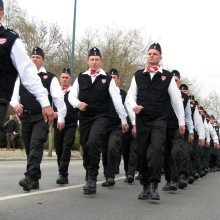 Column of Hungarian Guard members proceeds through the City Park on its way to Heroes' Square (3/15/2008).