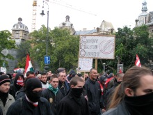 """""""Gypsy Free Zone."""" Anti-government demonstrators march to the Soviet War Memorial (9/20/2008)."""