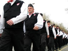 Column of Hungarian Guard members marches through the City Park on its way to the organization's commemoration of the March 15 national holiday on Heroes' Square (3/15/2008)