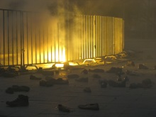 "Scene from the ""Shoes at the Soviet War Memorial"" demonstration (9/20/2008)."