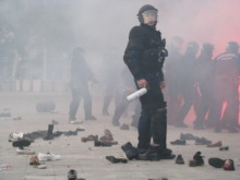 """Riot cops in action during the """"Shoes at the Soviet War Memorial"""" demonstration (9/20/2008)."""