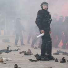 "Riot cops in action during the ""Shoes at the Soviet War Memorial"" demonstration (9/20/2008)."