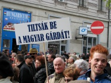 """""""Ban the Hungarian Guard!"""" Holocaust-remembrance procession (4/15/2008)."""