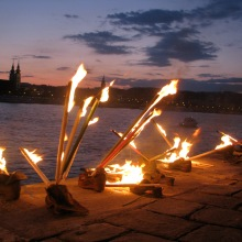 Torches placed in Shoes on the Danube Bank Holocaust memorial during Hungarian Socialist Party Peace Day rally (5/9/2008).