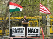 """""""He Who Cries Nazi Is One!"""" Tomcat speaks during ticket-office demonstration (4/11/2008)."""
