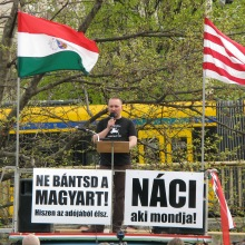 """He Who Cries Nazi Is One!"" Tomcat speaks during ticket-office demonstration (4/11/2008)."