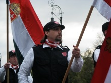 Hungarian Guard flag bearer at organizational initiation ceremony (10/21/2007).