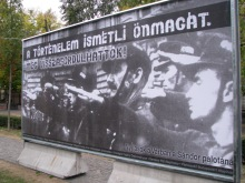 """History Repeats Itself."" Hungarian Jewish Federation sign at Hungarian Guard initiation ceremony (9/21/2007)."
