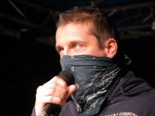 """""""The city is ours, the streets are ours, death to the Israeli water cannons!"""": Protest leader György Budaházy speaks at anti-government rally before march on Budapest Opera House (10/22/2007)."""