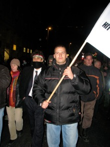László Toroczkai leads anti-government protestors to demonstration at Budapest Opera House (10/22/2007).