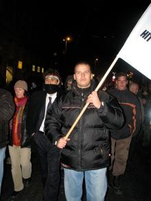 László Toroczkai leads anti-government protestors during 2007 demonstration in Budapest (photo: Orange Files).