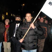 László Toroczkai leads anti-government protestors during 2007 demonstration in Budapest (photo: Orange Files).