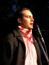 Jobbik President Gábor Vona speaks at anti-government rally before march on Budapest Opera House (October 22, 2007).