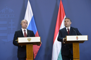 President Vladimir Putin of Russia and Prime Minister Viktor Orbán of Hungary during a joint press conference in Budapest on February 17, 2015 (photo: Hungarian News Agency).