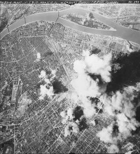 Allied bombs falling on Budapest.