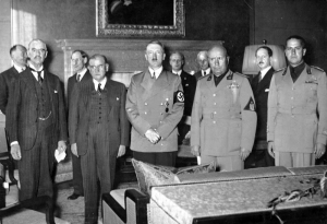 Munich Agreement signatories (left to right): Chamberlain; Daladier; HItler; and Mussolini.