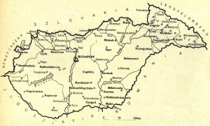 Map of Hungary following reincorporation of Czechoslovak territories in 1938.