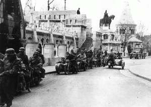 German troops participating in Operation Margarethe at the Fisherman's Bastion in Budapest.