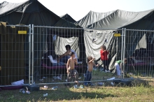 Refugees at the transit camp.