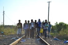 Refugees cross into Hungary from Serbia at the end of August.