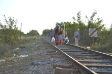 Refugees cross into Hungary from Serbia.