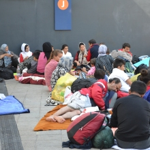 Refugees at the Eastern Railway Station.