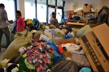 Donations inside Migration Aid office at the Eastern Railway Station.