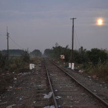 Dawn at the Hungarian-Serbian border.