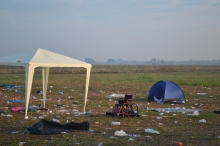 Refugee collection point at dawn.
