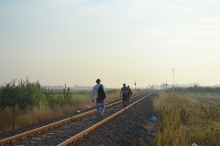 Refugees walking down the railway tracks to the police collection point.