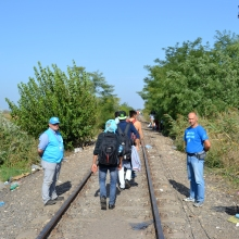 UNHCR observers watch refugees pass into Hungary.