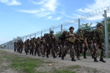 Hungarian army troops patrol the Hungarian-Serbian border.