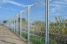 Fence at the Hungarian-Serbian border.