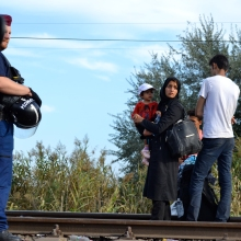 The first refugees to be stopped at the Hungarian-Serbian border.