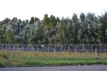 Hungarian border fence seen from Serbia.