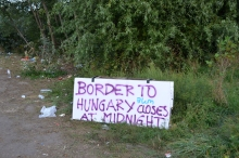 Sign along the railway tracks in Serbia about two miles from the border.