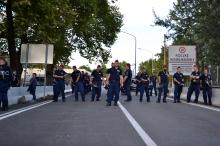 Hungarian police at the regular border crossing.