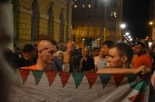 Hungarian anti-migrant demonstrators.