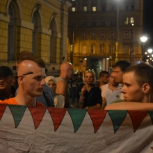 Hungarian anti-migrant demonstrators.