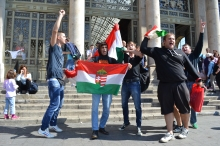 Radical nationalists chant anti-migrant slogan at Eastern Railway Station.