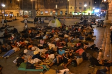 Refugees camped out at the Eastern Railway Station.