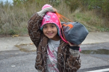 Migrant girl preparing to cross into Austria from Hungary.